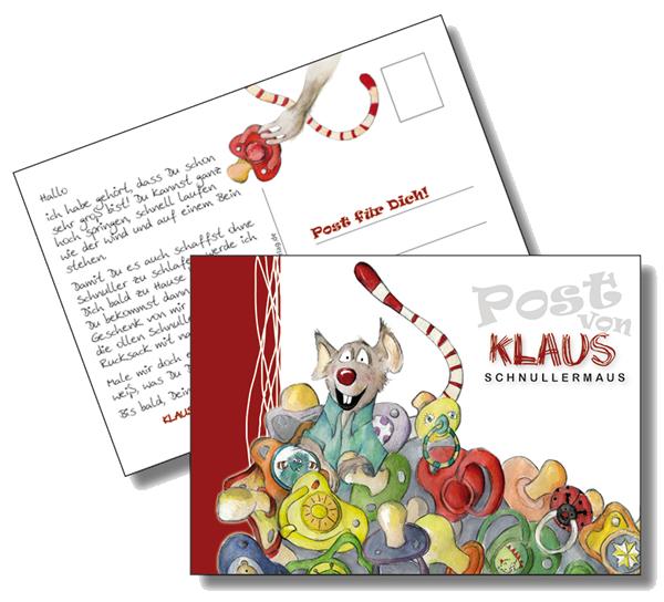 Klaus Schnullermaus Postkarte