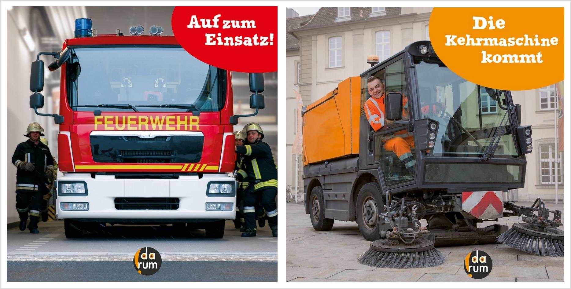Einsatz für Feuerwehr und Kehrmaschine